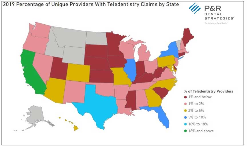2019 Percentage of Unique Providers with Teledentistry Claims by State