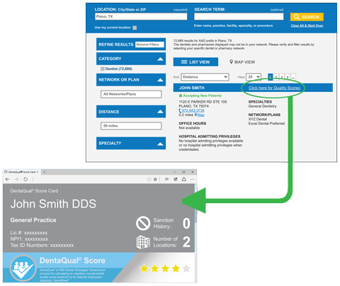 DentaQual score card data can be integrated into nearly any member web portal